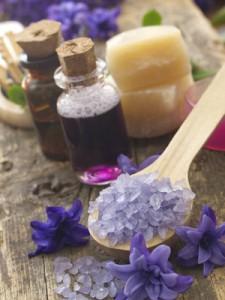 Oils, soap, bath salts, flowers