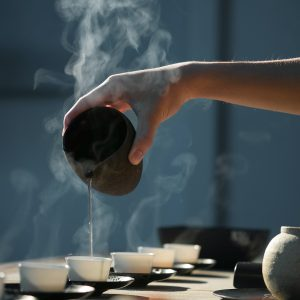 Serving tea at spa