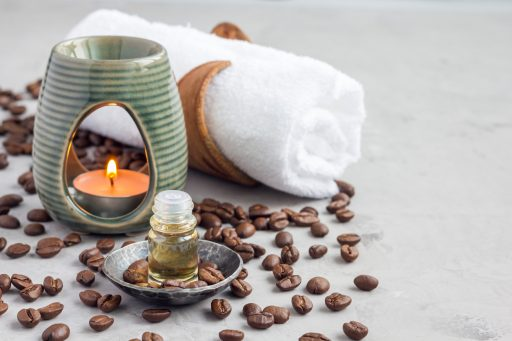 coffee beans, essential oil, tea light